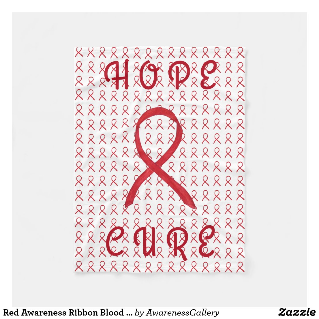 Red Awareness Ribbon Blood Cancer Fleece Blanket
