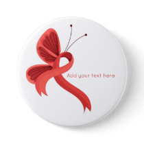 Red Awareness Ribbon Butterfly Button