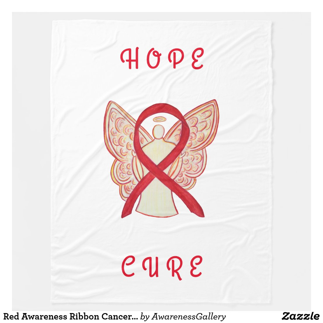 Red Awareness Ribbon Cancer Angel Fleece Blanket