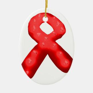Red Awareness Ribbon Candle Ceramic Ornament
