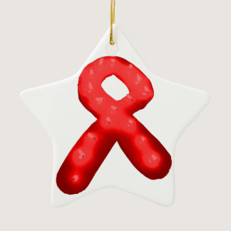 Red Awareness Ribbon Candle Ceramic Ornament