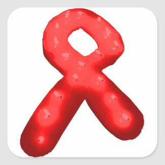 Red Awareness Ribbon Candle Square Stickers