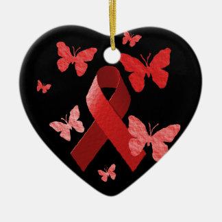 Red Awareness Ribbon Ceramic Ornament