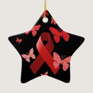 Red Awareness Ribbon Ceramic Ornament