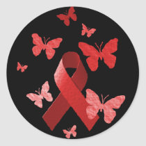 Red Awareness Ribbon Classic Round Sticker