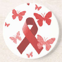 Red Awareness Ribbon Coaster