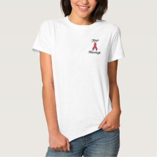 Red awareness ribbon - Customize Embroidered Shirt