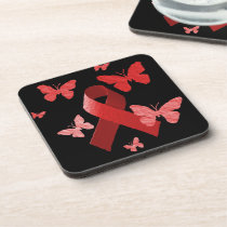 Red Awareness Ribbon Drink Coaster