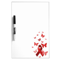 Red Awareness Ribbon Dry-Erase Board