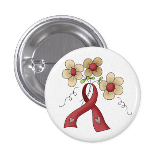 Red Awareness Ribbon & Flowers Button