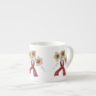 Red Awareness Ribbon & Flowers Espresso Cup