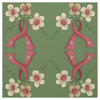 Red Awareness Ribbon & Flowers Fabric