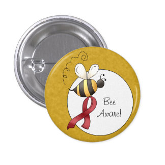 Red Awareness Ribbon & Flowers Pinback Button
