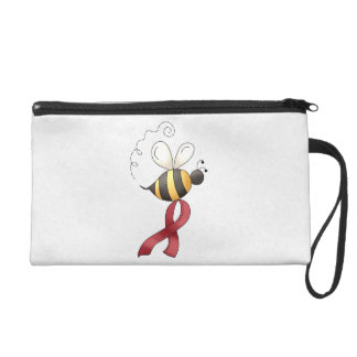 Red Awareness Ribbon & Flowers Wristlet
