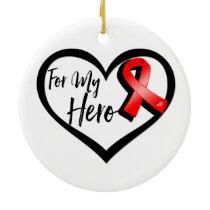 Red Awareness Ribbon For My Hero Ceramic Ornament