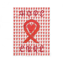 Red Awareness Ribbon Heart Blood Cancer Blankets