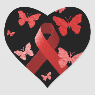 Red Awareness Ribbon Heart Sticker