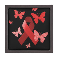 Red Awareness Ribbon Jewelry Box
