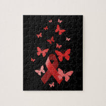Red Awareness Ribbon Jigsaw Puzzle