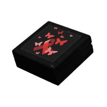 Red Awareness Ribbon Keepsake Box
