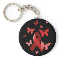 Red Awareness Ribbon Keychain