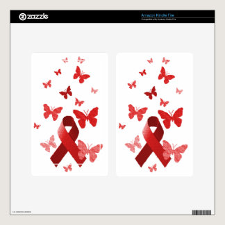 Red Awareness Ribbon Kindle Fire Decals