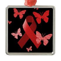 Red Awareness Ribbon Metal Ornament