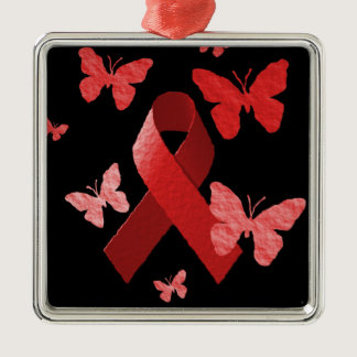 Red Awareness Ribbon Metal Ornament