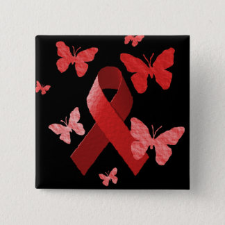 Red Awareness Ribbon Pinback Button