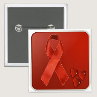 Red Awareness Ribbon Pinback Button