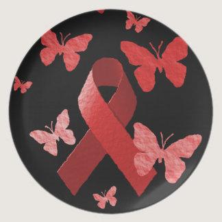 Red Awareness Ribbon Plate