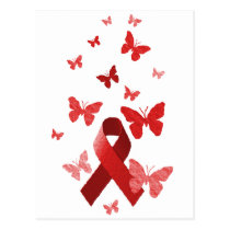 Red Awareness Ribbon Postcard
