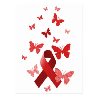 Red Awareness Ribbon Postcard