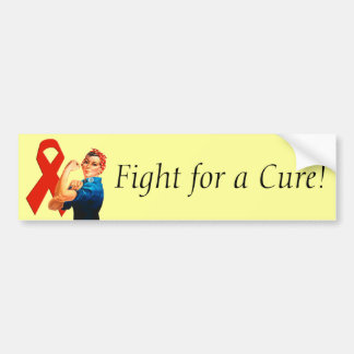 Red Awareness Ribbon Rosie the Riveter Bumper Sticker