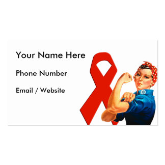 Red Awareness Ribbon Rosie the Riveter Business Card