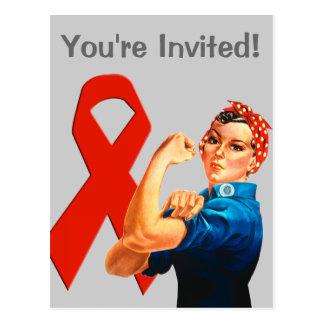 Red Awareness Ribbon Rosie the Riveter Postcard
