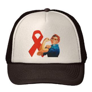 Red Awareness Ribbon Rosie the Riveter Trucker Hat