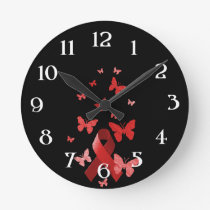 Red Awareness Ribbon Round Clock