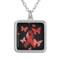 Red Awareness Ribbon Silver Plated Necklace