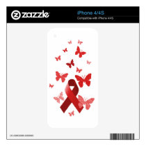 Red Awareness Ribbon Skin For The iPhone 4S