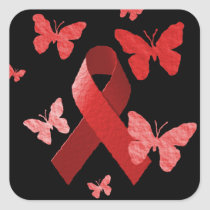 Red Awareness Ribbon Square Sticker