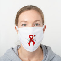 Red Awareness Ribbon with Butterfly White Cotton Face Mask