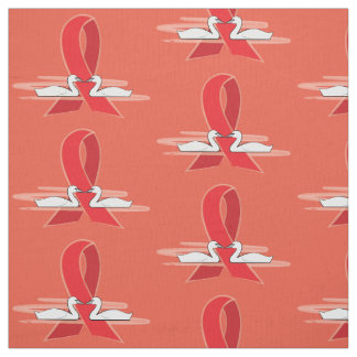 Red Awareness Ribbon with Swans Fabric