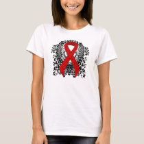 Red Awareness Ribbon with Wings T-Shirt