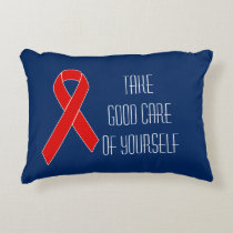 Red Awareness Ribbon   your message Accent Pillow
