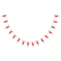 Red Awareness Ribbon   your message Bunting Flags