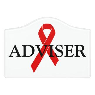 Red Awareness Ribbon + your message Door Sign
