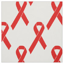 Red Awareness Ribbon   your message Fabric