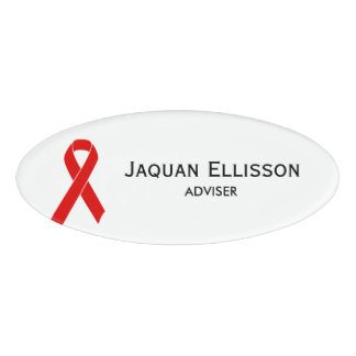 Red Awareness Ribbon + your message Name Tag