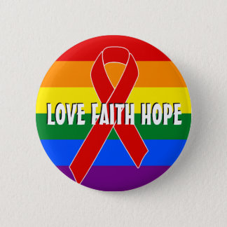 Red Awareness Ribbon + your message Pinback Button